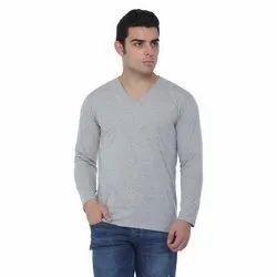 Grey Plain V-Neck Full Sleeve T-Shirt