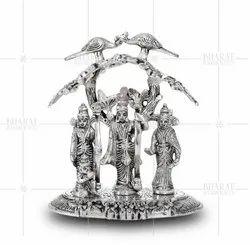 White Metal Ram Darbar Gift Idols Under Tree