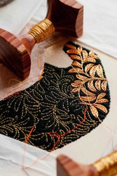 Copper Color Metallic Zari Thread On 100% Cotton