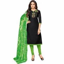Rajnandini Black Chanderi Silk Embroidered Semi-Stitched Dress Material With Printed Dupatta