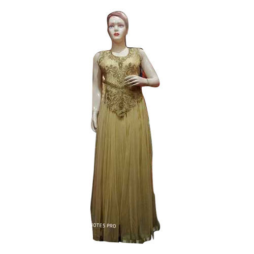 a847ea66827 Ladies Off Golden Sleeveless Designer Net Gown