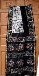 Bagru Hand Batik Print Chanderi Saree