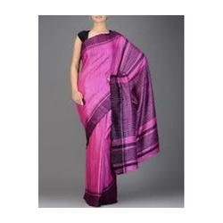 Party Wear And Wedding Wear Pink Ghicha Saree, With Blouse Piece