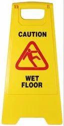 Yellow Plastic Caution Standing Board (Wet Floor Sign)