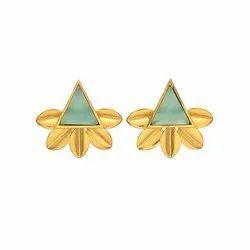 Aqua Chalcedony Trillion Gemstone Stud Earring