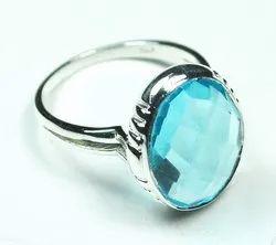 Blue Quartz 925 Sterling Silver High Fashion Rings
