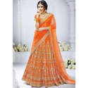 Orange Heavy Embroidered Bridal Lehenga