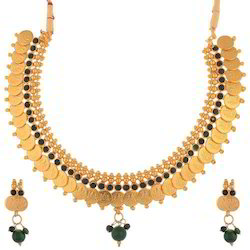 Golden Ganapathy Green Stone Necklace Set