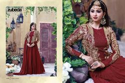 Designer Red & Gold Embroidered Anarkali Suit
