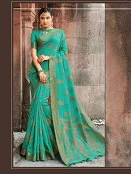 Turquoise Banarasi Jute Linen Saree  With Blouse Piece