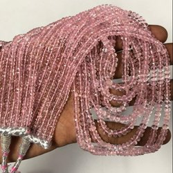 Natural Pink Morganite Faceted Rondelle Beads Strands