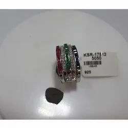 925 Sterling Silver Multicolor Sapphire Ring