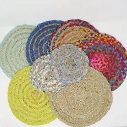 100% Woven Jute Table Mat Wholesale Round Braided Jute Placemats