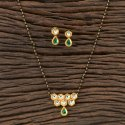 Gold Plated Kundan Classic Mangalsutra 350299, Size: Chain Length = 18 Inch
