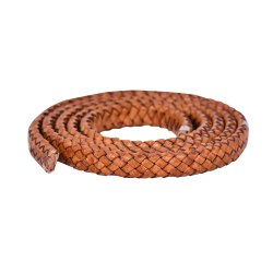 Brown Distressed Light Oval Flat Braided Bracelet Leather Cord
