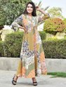 Baize Colour Party Wear Cotton Printed Long Gown