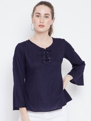 Ladies Plain Navy Blue Rayon Top