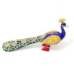 Metal Stone Studded Decorative Long Peacock