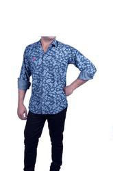 Snooker Flower Print Blue Full Sleeve Shirt
