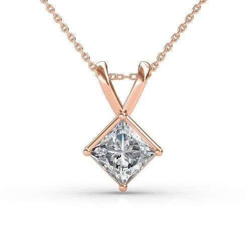 4df7fdd96 White 1.5 Ct Princess Cut Diamond Solitaire Pendant In 14k Rose Gold ...