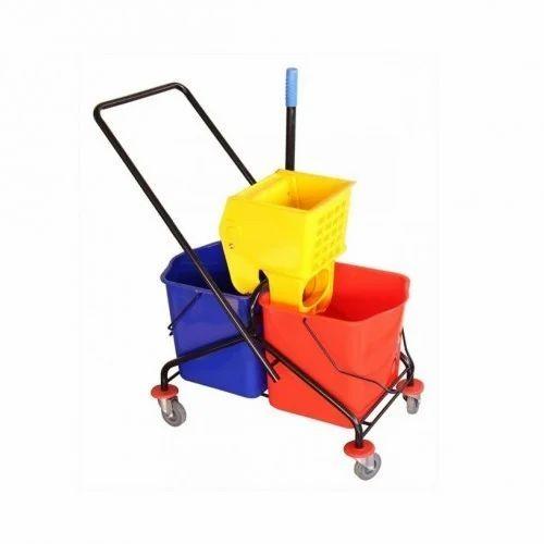 Cleaning Mop Trolleys Double Mop Wringer Trolley
