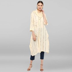 Women Cream Rayon Flex Printed Cowl Neck Kurta