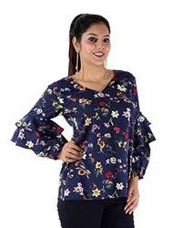 Crepe Casual Wear Women Blue Floral Print Top