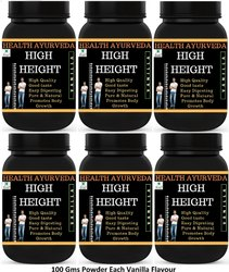 Health Ayurveda High Height Height Badhane Ki Dawa (Vanilla Flavour) - 100 gms Powder (Pack Of 6)