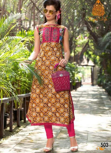 Yellow With Pink Sparkle - 5 Heavy Rayon Designer Kurti