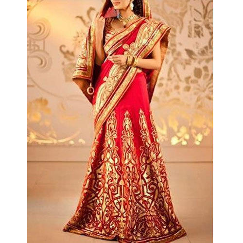 b6a027a231 Red And Golden Embroidered Bridal Designer Saree, With Blouse, Rs ...