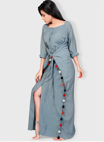 Dusty Blue Linen Coachella Cinched Waist Maxi Dress Vilg0300b17