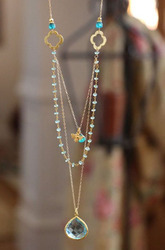 Multilayer Women's Beaded And Gemstone Charm Bezel Necklace