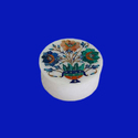 Round White Marble Semi Precious Stones Inlay Floral Art
