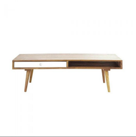 Plash Sheesham Wood Coffee Table With White Painted Drawer