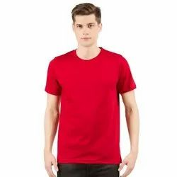 Mens Round or Crew Neck Red T-Shirt