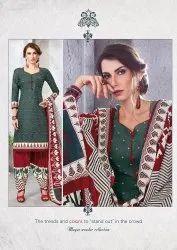 Mayur Straight Ikkat Patiyala Suit Materials, For Casual Waer, 100% Cotton