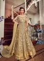 Golden Premium Net Semi Stitched Anarkali Suit