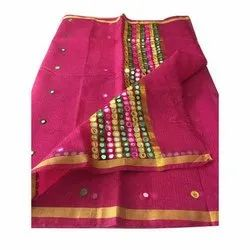 Casual Wear Kota Cotton Mirror Work Saree, With Blouse Piece