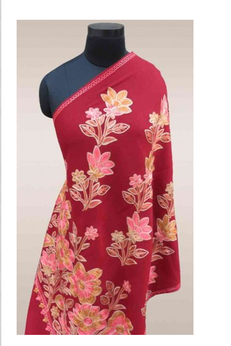 Red Floral Embroidered Indian Scarves At Rs 3300 Piece Scarves