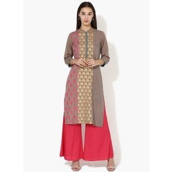 Cotton Straight Ladies Stitched Kurti, Handwash