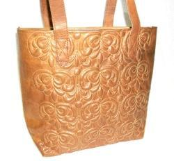 Embossed Designer Leather Tote Bag