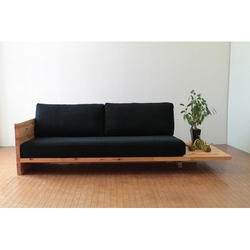 Wooden and Leather 2 Seater Plain Designer Sofa