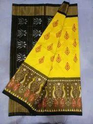 Wedding Wear Printed Ikkat Silk Half Tissue Sarees, 6 m (with blouse piece)