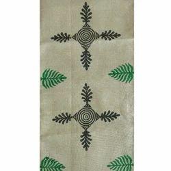 aArtyz Cream Green & Black Block Printed Raw Silk Runner