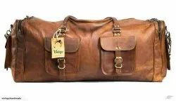 Brown Square Leather Duffel Bag