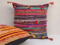 Burgundy Red Chindi Colorful Decorative Boho Rag Rug Bohemian Couch Pillow Sofa Throw Cushion Cover