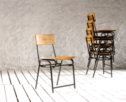 Industrial Hemsworth Shop Cafe Dining Chair With Wooden Top