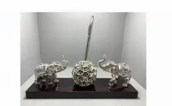 Silver Coated Ganpati With Pen Stand