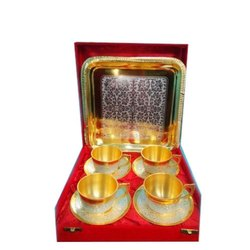 Silver & Gold Plated Brass Cup & Saucer Set with Tray