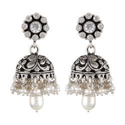 Silver Cut Stone Jhumki With Pearl